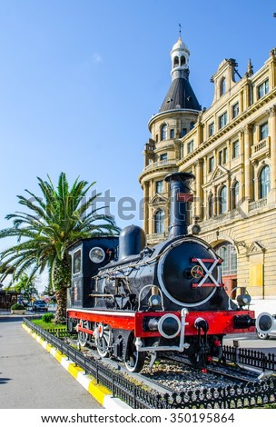 Vintage steam engine at railway museum, Haydarpasa / Istanbul  - stock photo