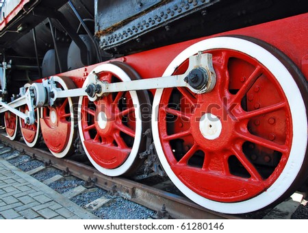 Vintage steam locomotive - stock photo