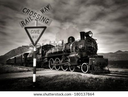 Vintage Steam Locomotive, Kingston, New Zealand - stock photo