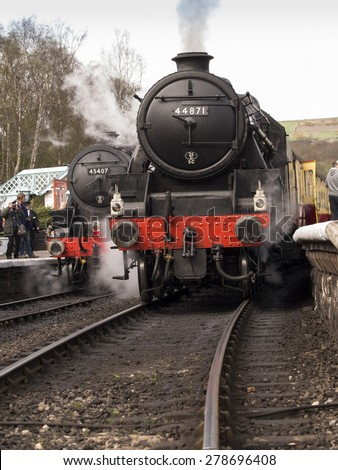 vintage steam locomotive 45407 The Lancashire Fusilier at Grosmont station,on The North Yorkshire Moors Railway,Yorkshire,UK.taken 12/04/2015