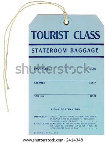 Vintage Steamer Baggage Tag - French Line - Pier 88, NYC - Plymouth to London / Havre or Paris - stock photo