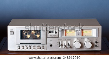 Vintage stereo cassette tape deck player recorder - stock photo