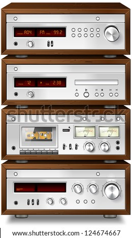 Vintage stereo cassette tape deck recorder CD player tuner amplifier rack