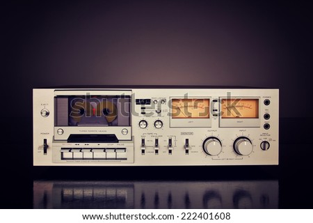 Vintage Stereo Cassette Tape Deck Recorder Front - stock photo