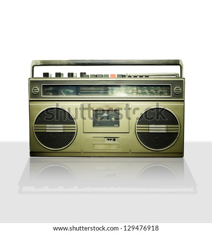 Vintage stereo player in white background. - stock photo