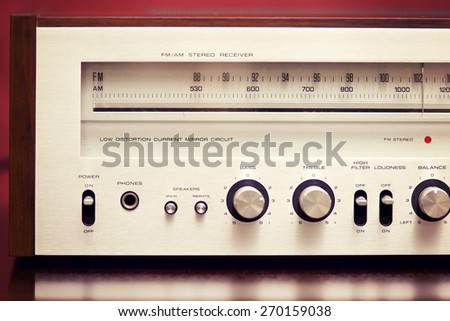 Vintage Stereo Radio Receiver Front Panel - stock photo