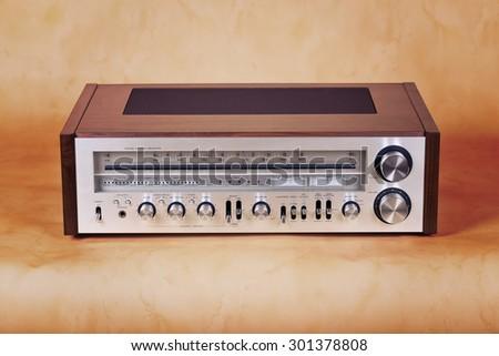 Vintage Stereo Radio Receiver Front Panel - stock photo
