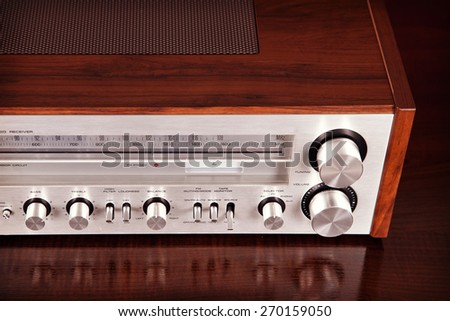 Vintage Stereo Radio Receiver Perspective View - stock photo