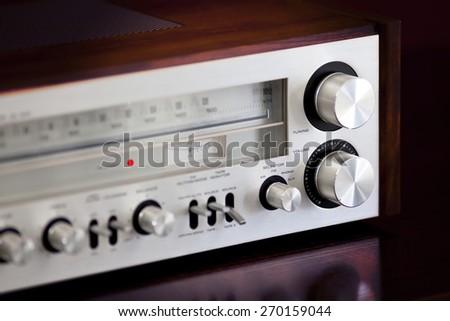 Vintage Stereo Radio Receiver Volume Knob - stock photo