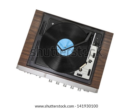 Vintage stereo turntable isolated with clipping path. - stock photo