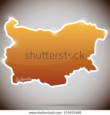 vintage sticker in form of Bulgaria - stock photo