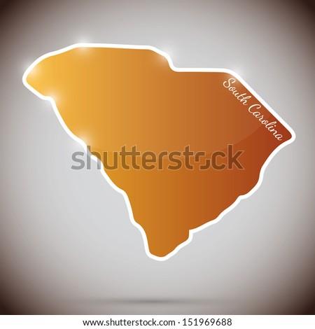 vintage sticker in form of South Carolina state, USA - stock photo