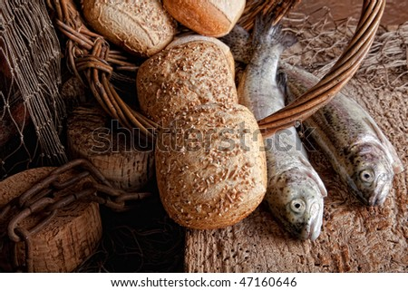 Five loaves and two fish stock images royalty free images for Fishing with bread