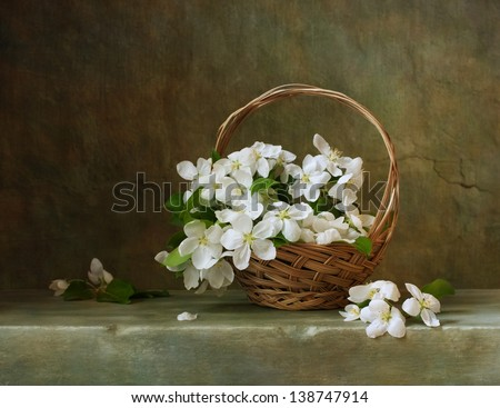Vintage still life with a basket of flowers apple - stock photo