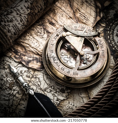 vintage  still life with compass,sextant and old map.. - stock photo