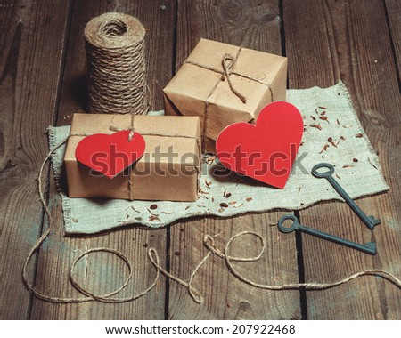 Vintage Still Life With Gift Boxes For Valentine's Day