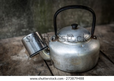 Vintage still life with Kettle - stock photo