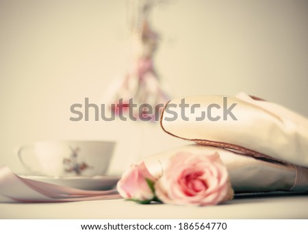 Vintage still Life with Spring Ballet Shoes - stock photo