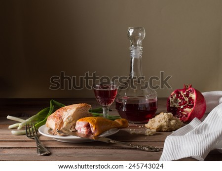 vintage still life with wine and meat