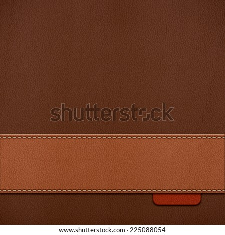 Vintage stitched leather background in brown colors - stock photo