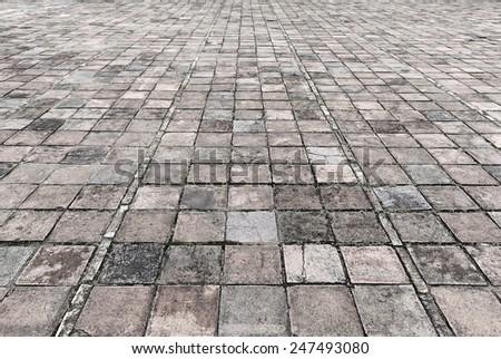 Vintage stone street road pavement texture  - stock photo