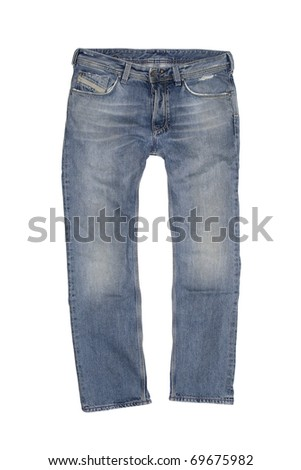 Vintage Stone Washed Boot Cut Jeans Isolated on White - stock photo