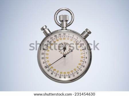 Vintage Stopwatch isolated on Beautiful Studio Background. Top View with Copy Space for Text  - stock photo