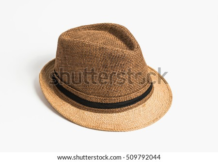Vintage straw hat for man isolated on white background.
