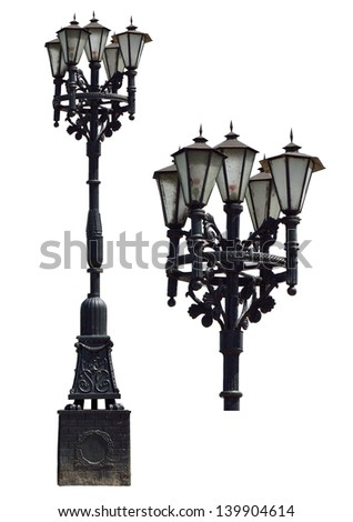 Vintage street lamp. Isolated on white background. - stock photo