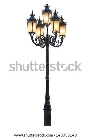Vintage street lamp with clipping path - stock photo