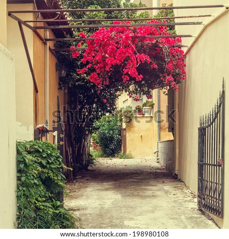 vintage streets of greek town - stock photo