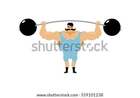 Vintage Strongman. Ancient athlete. Retro bodybuilder barbell. Strong power Circus actor. - stock photo