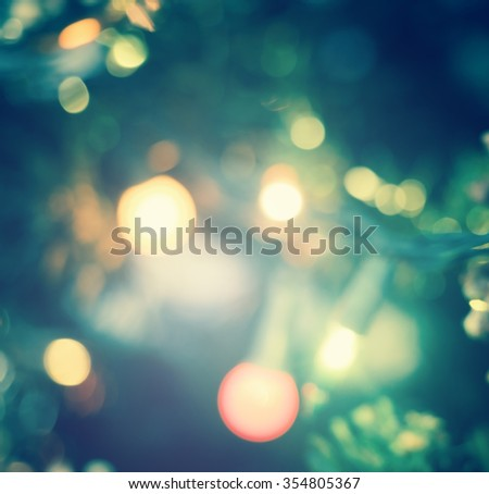 Vintage style. Abstract blur lighting decoration on Christmas tree. Backdrop Texture Night Nativity Scene Sing Song 2016 2017 twenty sixteen Candlemas Theravada Earth Hour Eve Light Xmas Shiny concept