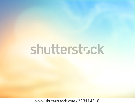 Vintage style. Abstract blurred textured background: yellow and blue color patterns. Blurred autumn background. Sandy beach backdrop with turquoise water and bright sun light. Summer holidays concept. - stock photo