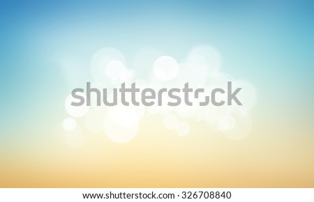Vintage style. Abstract blurred textured background: yellow and blue patterns. Blurred nature background. Sandy beach backdrop with turquoise water and bright sun light. Summer holidays concept. - stock photo