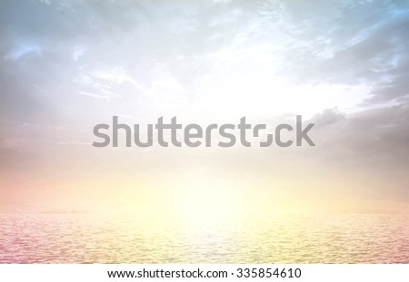 Vintage style. Abstract Nature background: yellow pink blue patterns. The beach backdrop with turquoise water and bright sun light. Summer holidays, World Water Day, Environment, Eco friendly concept. - stock photo