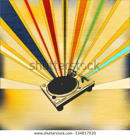 Vintage Style Background illustration for a indie night or DJ set Poster - stock photo