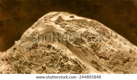 Vintage style black and white image of Mt Pumori in the Everest Region, Himalayas, Nepal. - stock photo