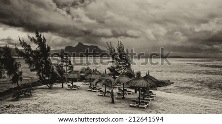 Vintage style black and white image of the beautiful tropical paradise island, Mauritius - stock photo