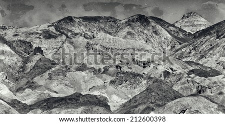 Vintage style black and white image of the variegated slopes of Artists Palette in Death Valley, California.  - stock photo