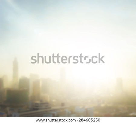 Vintage style. Blurred aerial view of Bangkok skyline on amazing golden warm light at sunrise. Beautiful hotel and resident of Bangkok city, Thailand background. Abstract blur city background concept. - stock photo