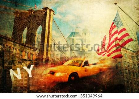 vintage style collage of New York city symbols - stock photo