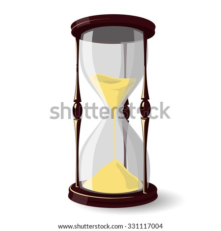 Vintage style dark-wood varnished hourglass isolated on white background