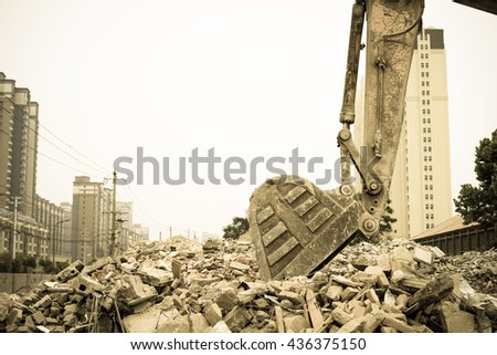 Vintage style - Demolition of buildings in urban environments. House in ruins. - stock photo