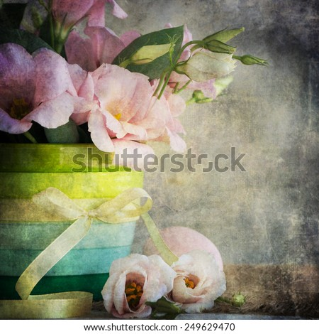 Vintage style, eustoma flowers, spring flowers - stock photo