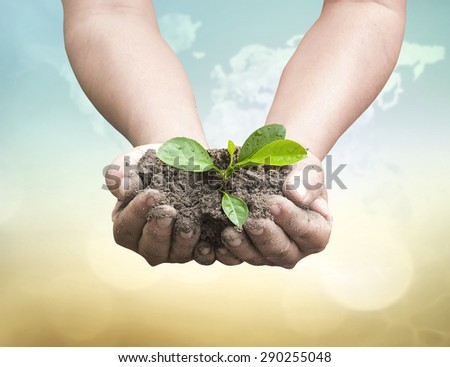 Vintage style. Human hands holding small plant with soil on blurred world map of clouds over beautiful ocean or forest or desert sunset background. Ecology, World Environment Day concept. - stock photo