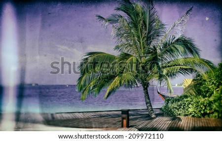 Vintage style image of a beautiful tropical paradise island, the Maldives