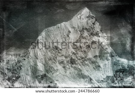Vintage style image of Mt. Nuptse in the Everest Region of the Himalayas, Nepal. - stock photo