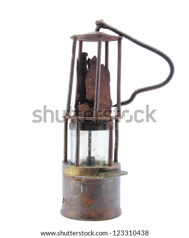 vintage style kerosene lamp isolated on white - stock photo