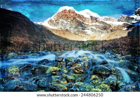 Vintage style landscape in the Everest Region, Himalayas, Nepal. - stock photo